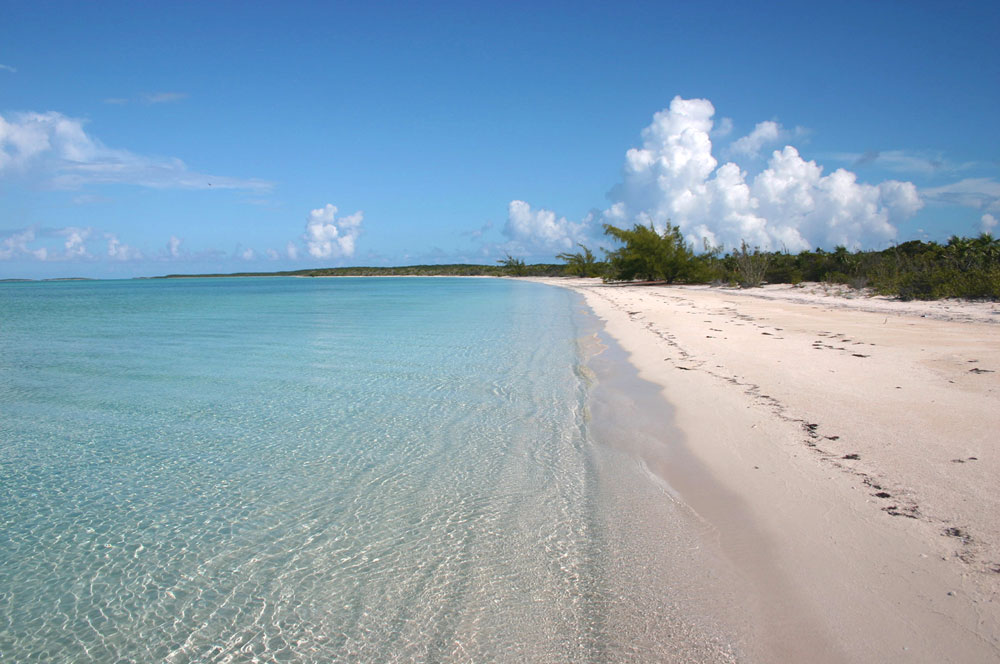 A view of the beautiful beach front on Norman's Pond Cay
